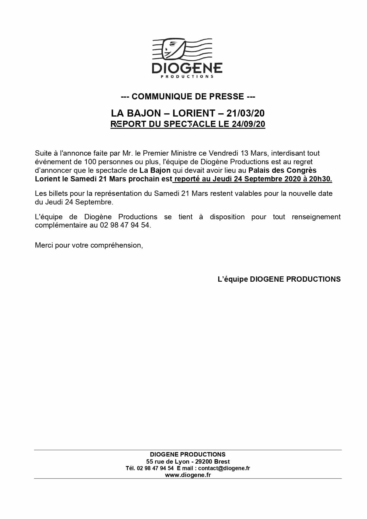 communiqué de presse report La Bajon